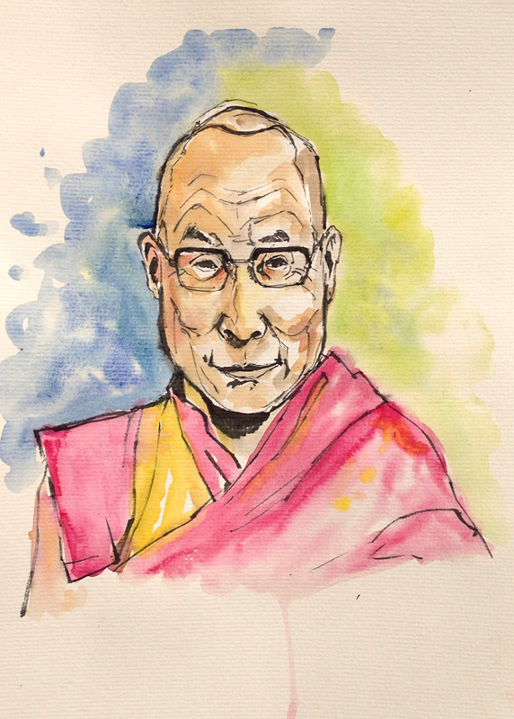 A portrait of the dalai lama which is part of the exhibit the art of leadership: a presidents diplomacy